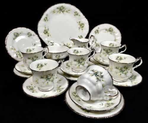 Vintage Paragon First Love Tea Set for 6 People / Trio / Antique Bone China